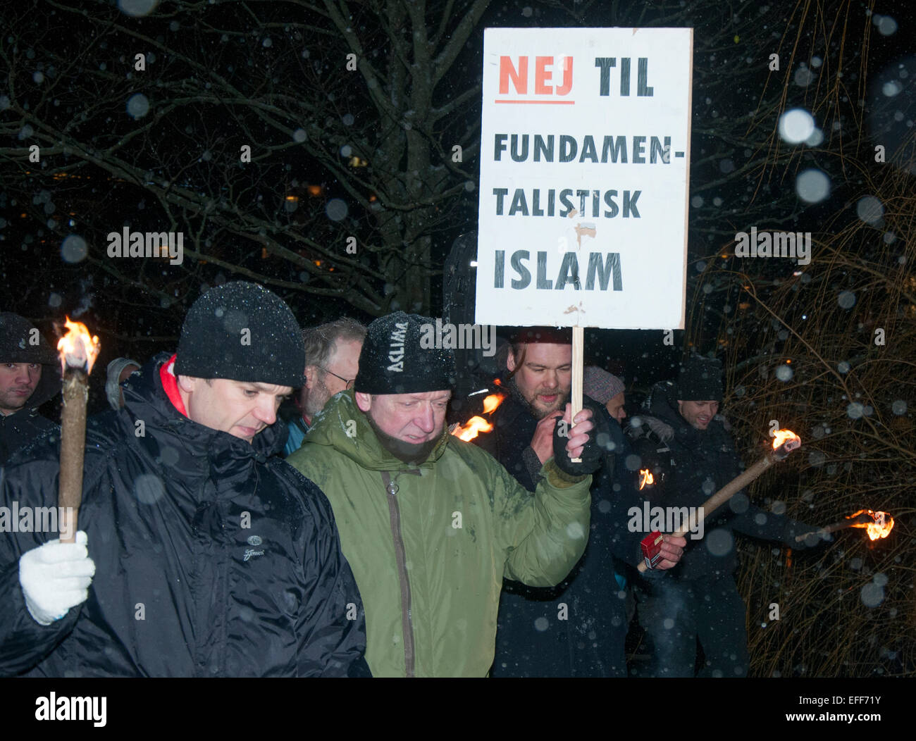 Danish activists brandishing torches took to the streets of Copenhagen on February 2nd 2015 marching against radical - Stock Image