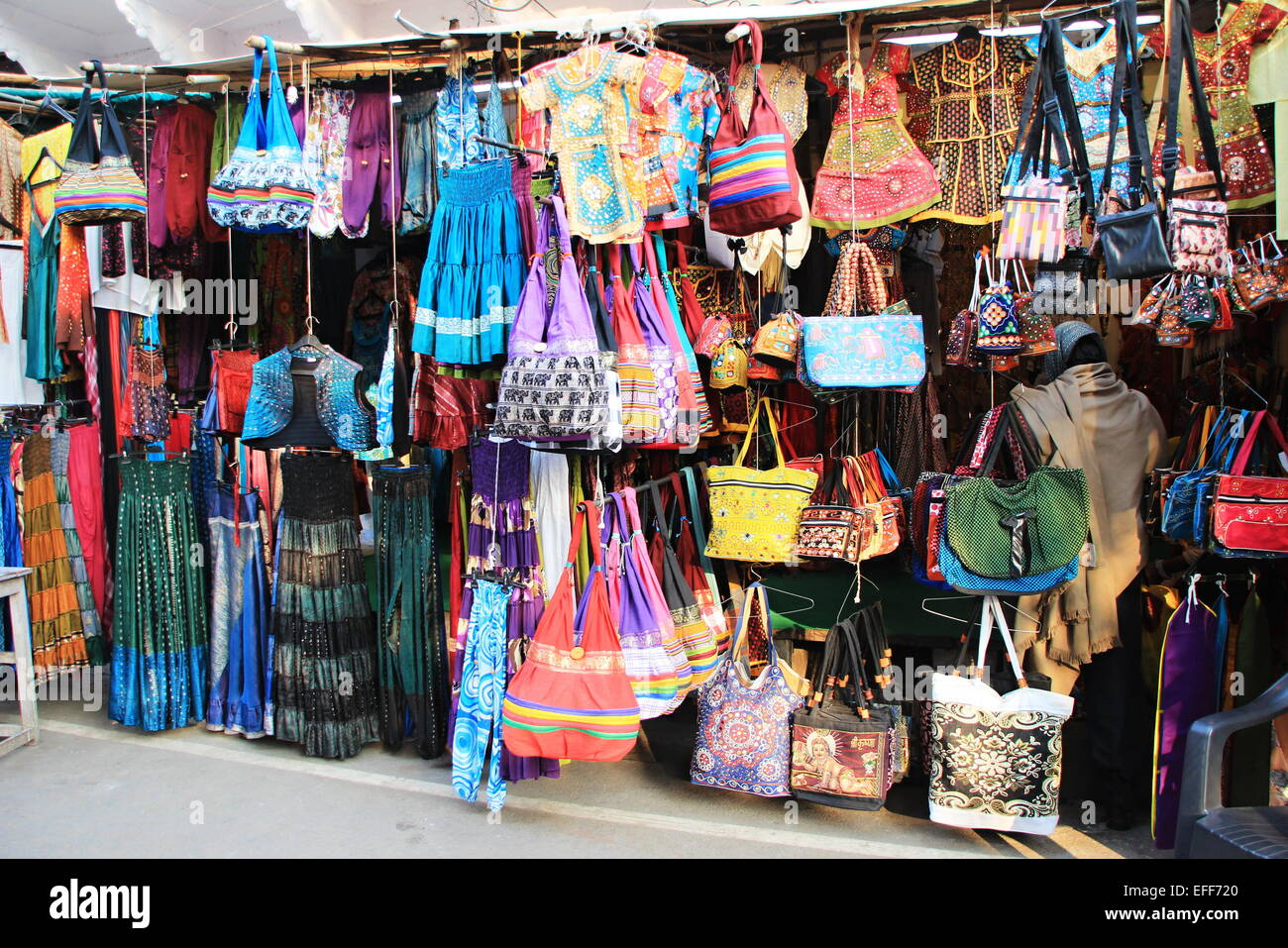 Window display of apparels and bags in a street Stock Photo