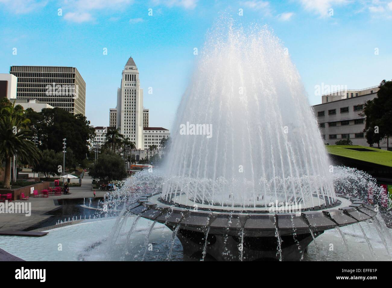 Flowing fountain in Grand Park in front of Los Angeles City Hall - Stock Image
