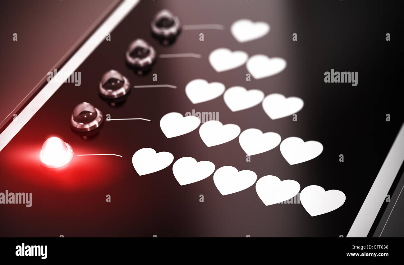 Illustration of love compatibility over black background with red light and blur effect. Satisfaction or love concept. - Stock Image