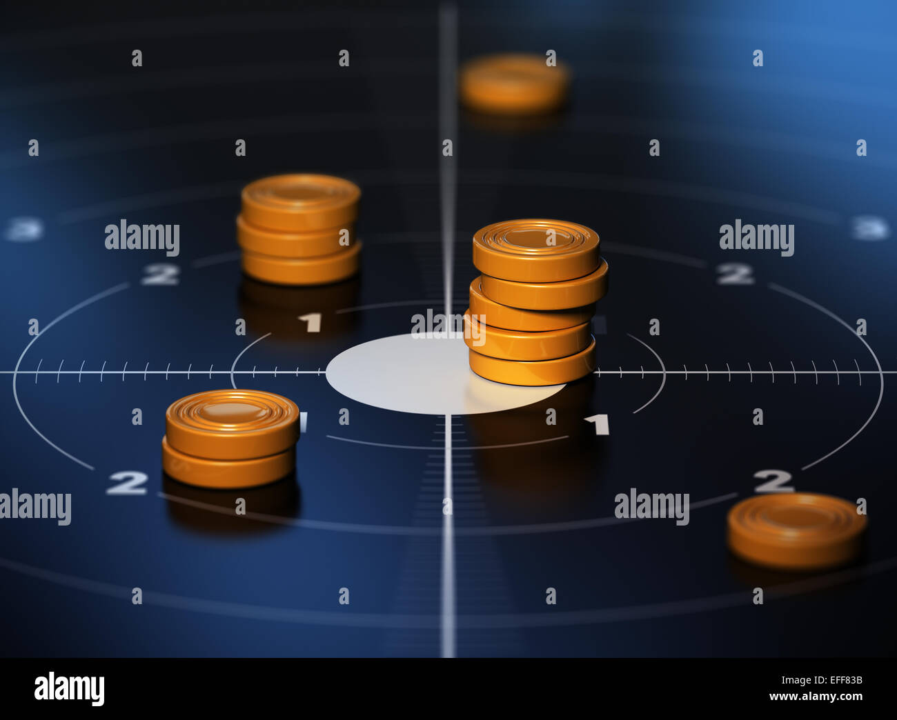 Many tokens in the center of a target with blue background. Conceptual illustration od SMART objective or measurable - Stock Image