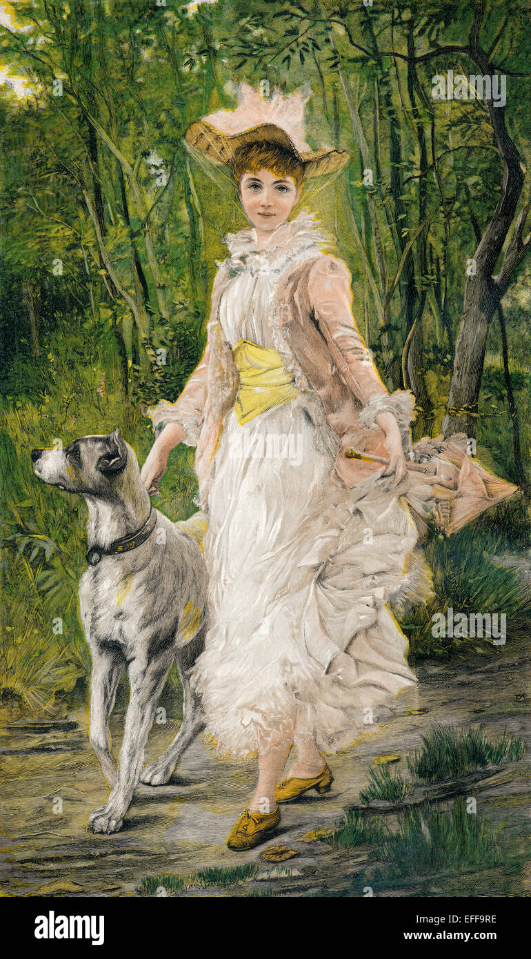 A young women and her dog, Coloured woodcut, c. 1895, after Joszi Arpad Koppay, - Stock Image