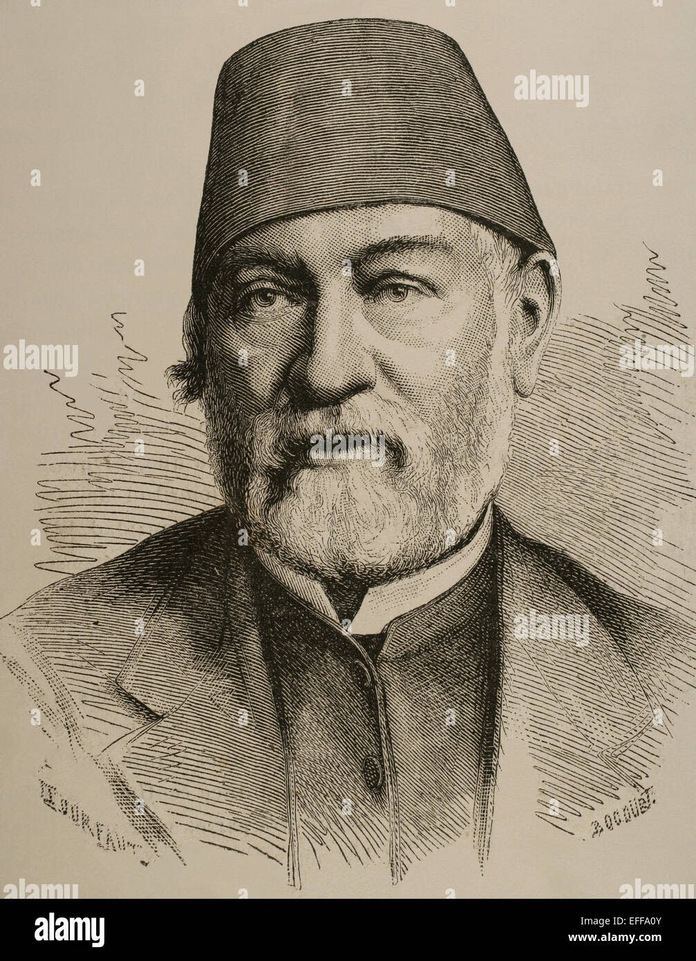 Auguste Mariette (1821-1881). French scholar, archaeologist and Egyptologist. Portrait. Engraving. Stock Photo