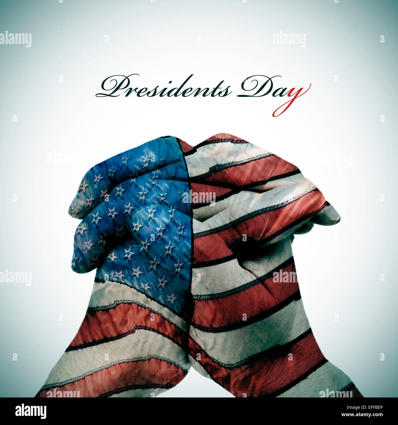 the text Presidents Day and man clasped hands patterned with the flag of the United States - Stock Image
