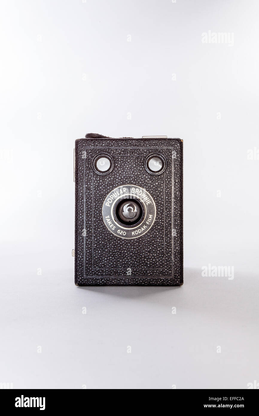 The Kodak Box Brownie was introduced in 1900 and was the first relatively cheap camera bringing photography to the - Stock Image