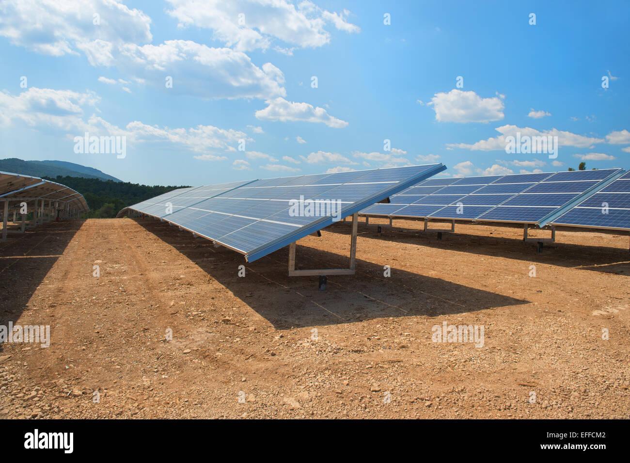 Solar panels in landscape - Stock Image
