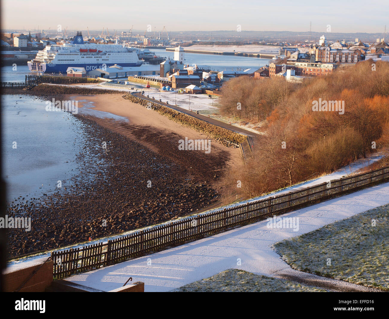 Newcastle Upon Tyne, UK. 03rd Feb, 2015. A light dusting of snow overnight at the entrance to the river Tyne at - Stock Image
