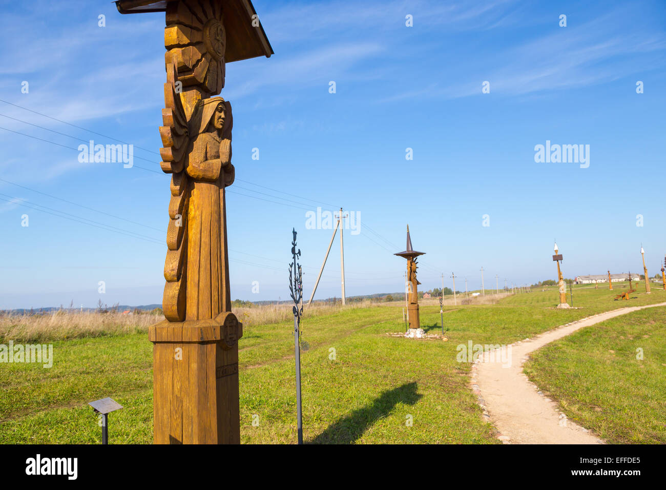 Wooden Hand Carved Statue, Hill of Angels, near Trakai, Lithuania Stock Photo