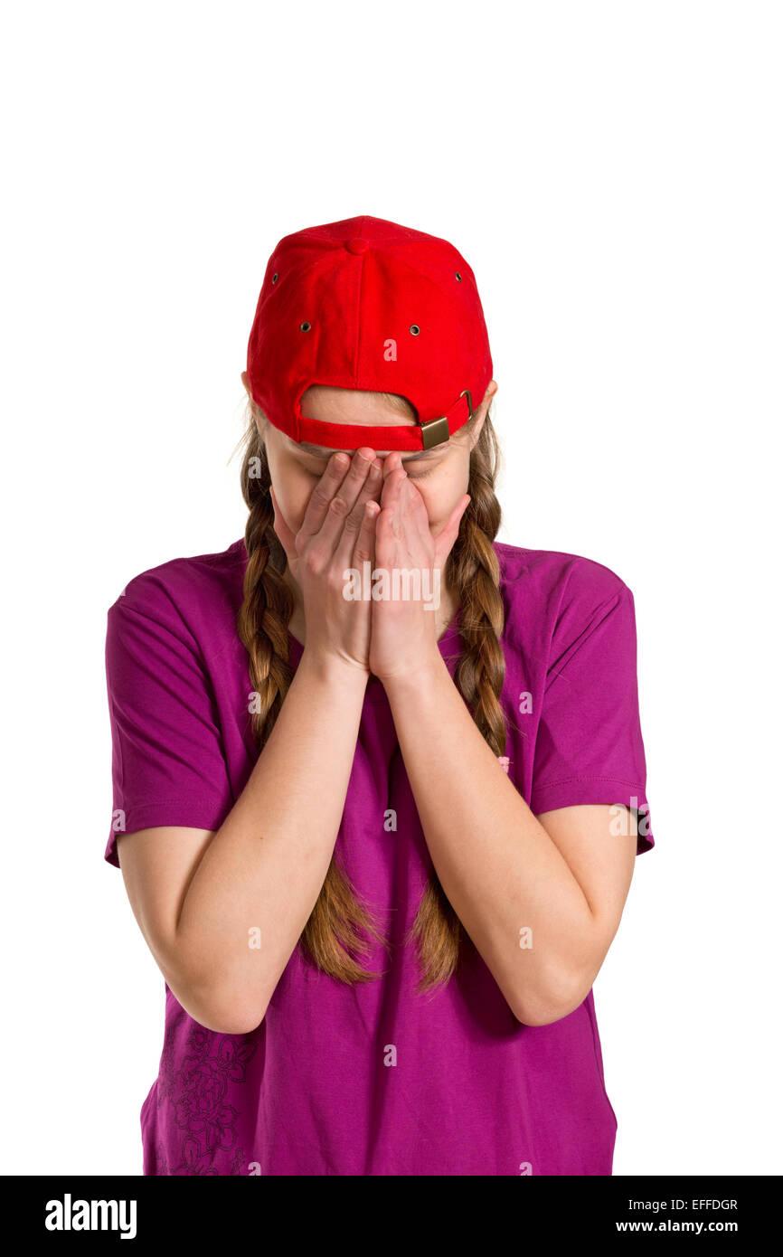 sad girl isolated on the white background - Stock Image