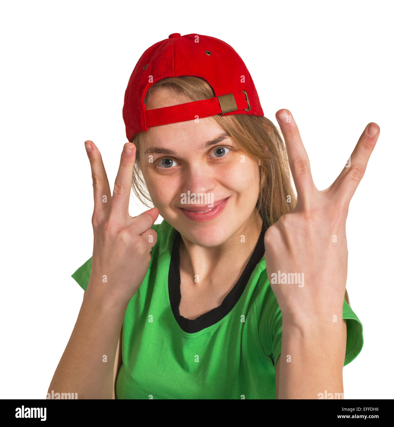 girl making grimace  on the white background - Stock Image