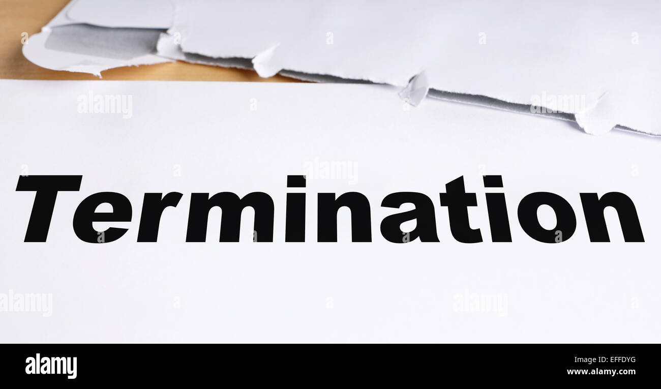 termination letter - Stock Image