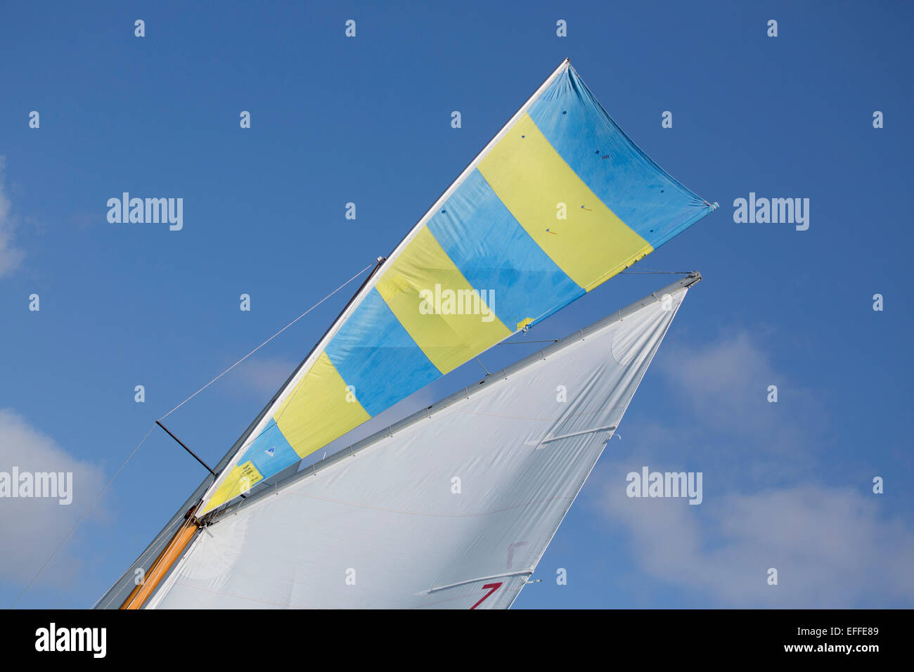 Yacht Sail Falmouth; Cornwall; UK - Stock Image