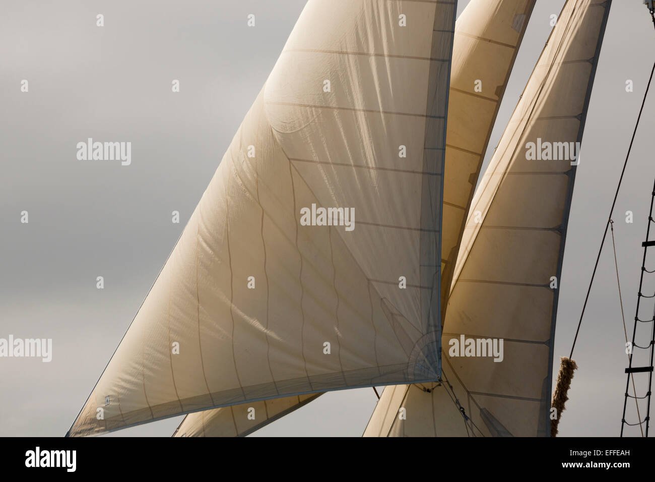 Sails and Rigging Tall Ship Falmouth; UK - Stock Image