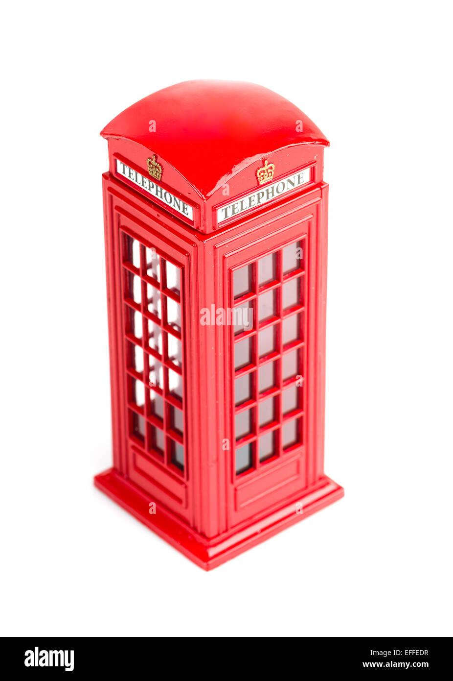 London red telephone box (souvenir) on white background - Stock Image