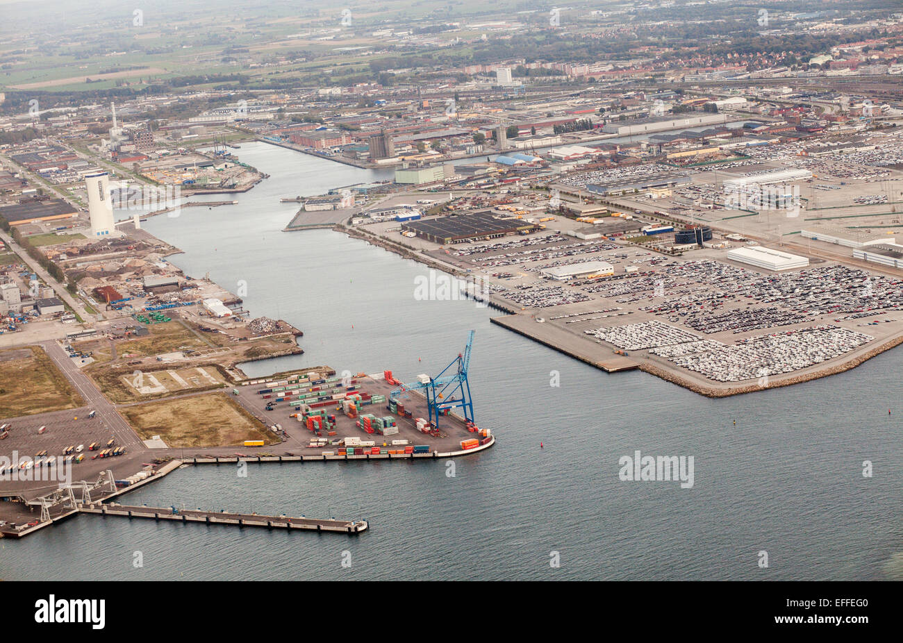 Aerial view of commercial dock and residential district - Stock Image