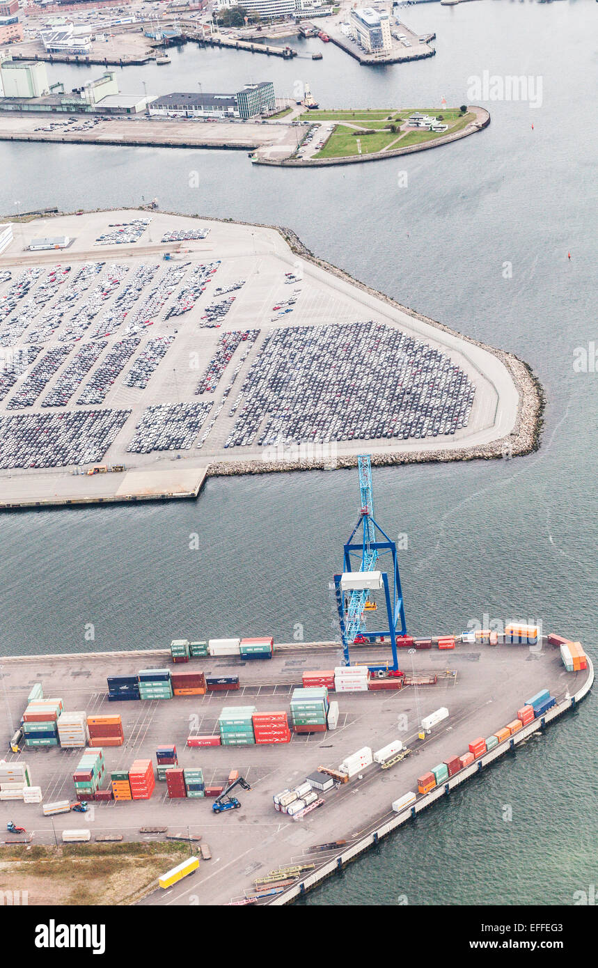 Aerial view of commercial dock and parking lot - Stock Image