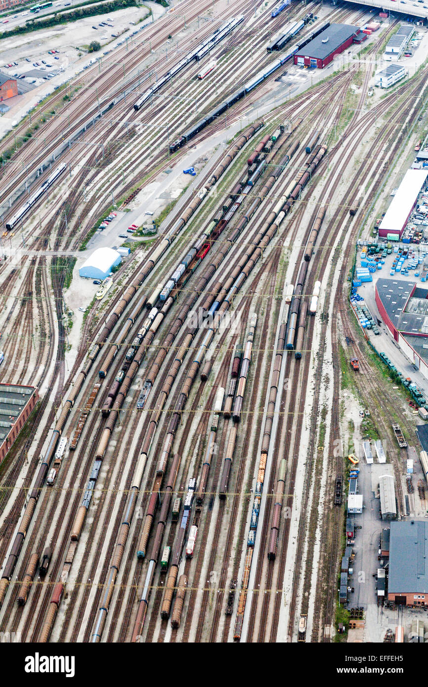 Aerial view of freight trains at shunting yard - Stock Image