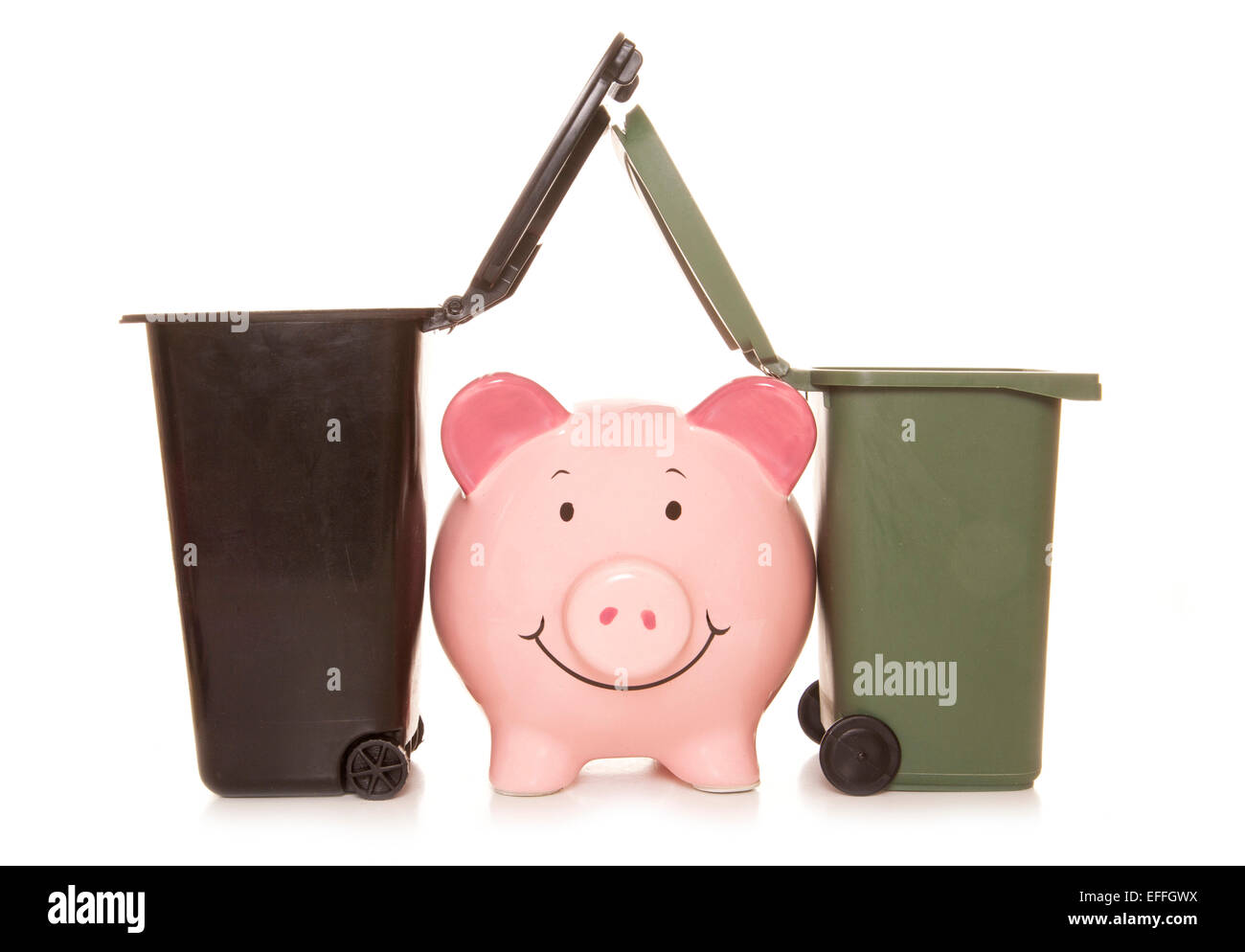 rags to riches piggybank cutout - Stock Image