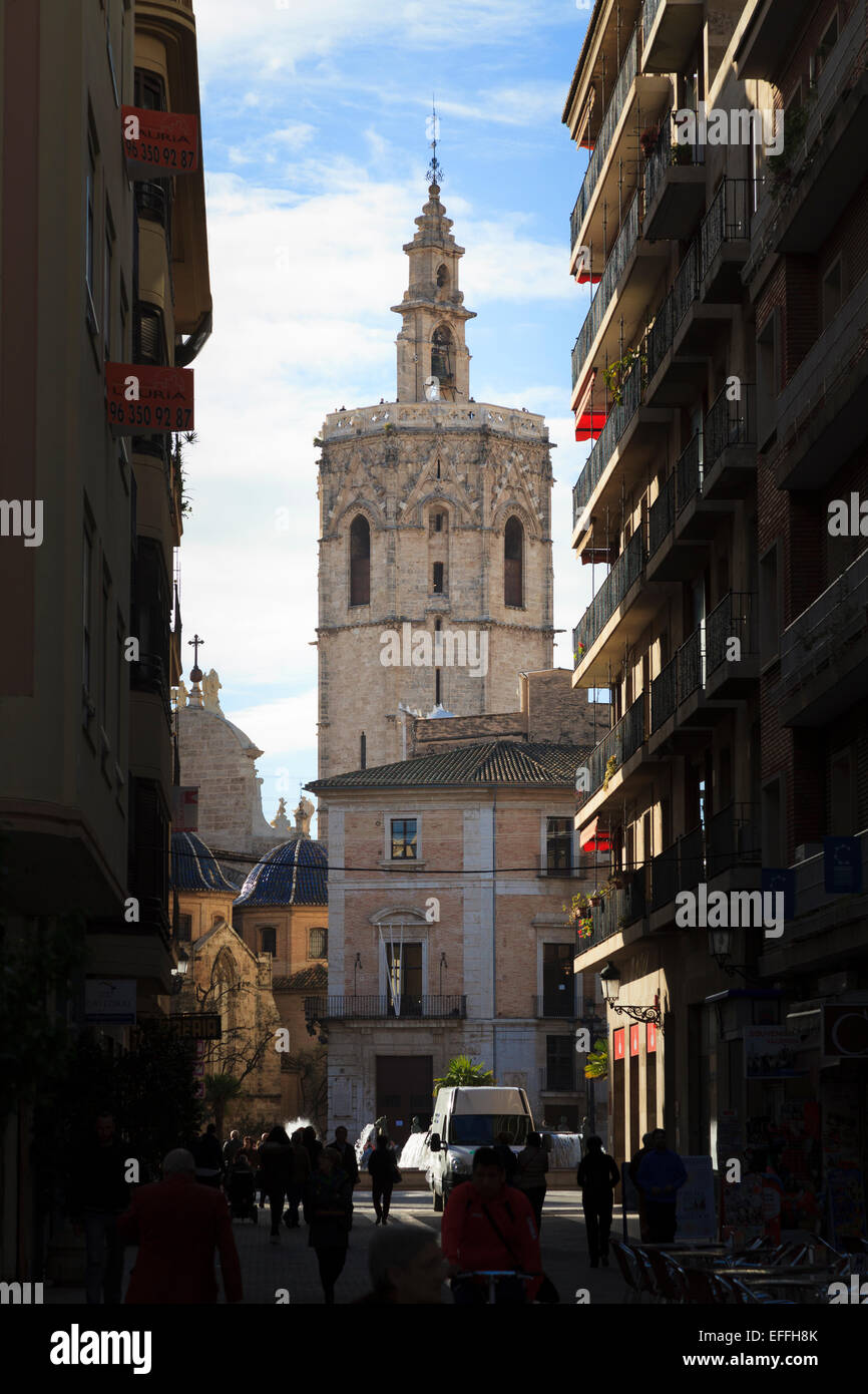 The Miguelete Bell Tower of Valencia Cathedral Spain Stock Photo