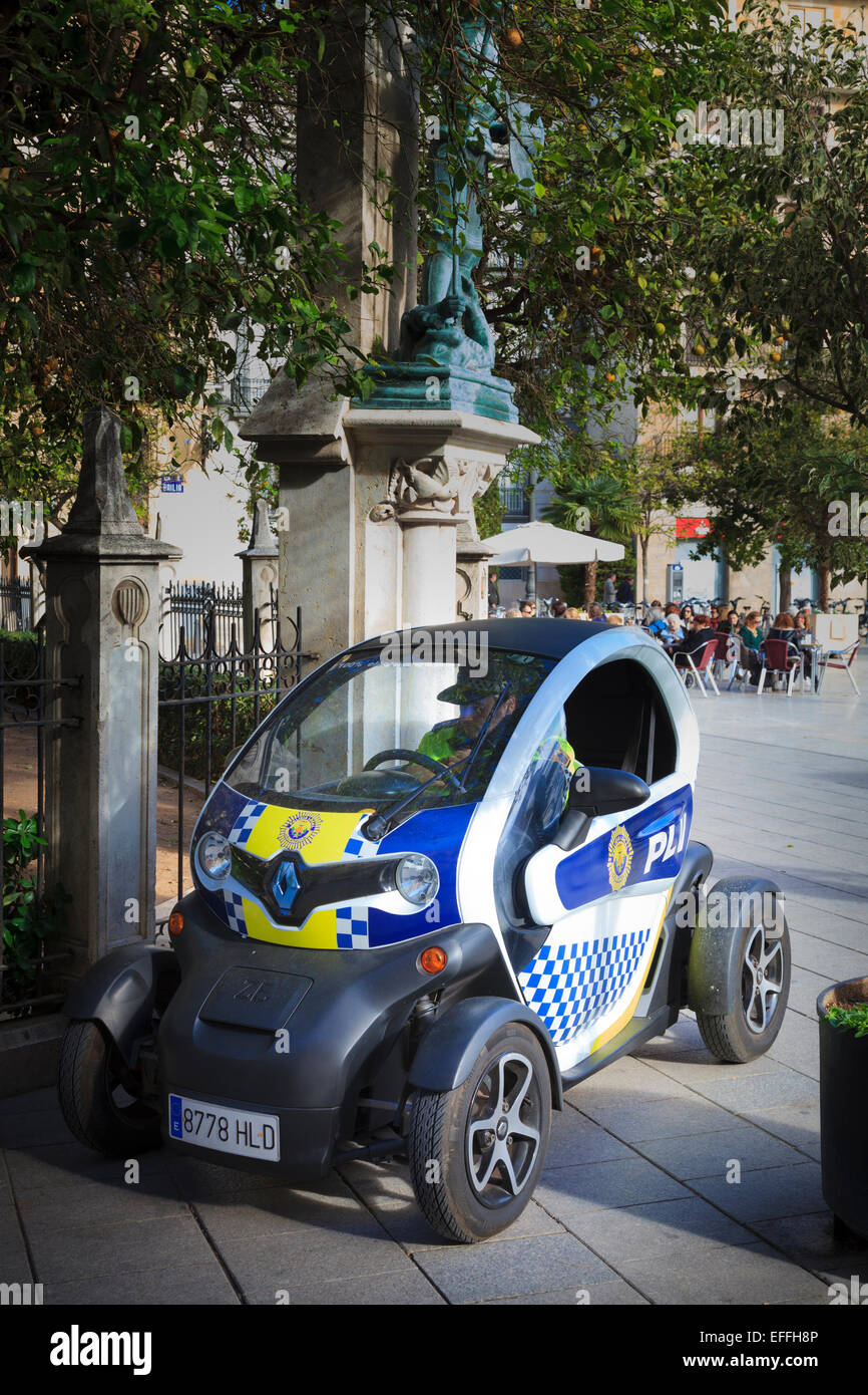 A Renault Twizy used by the local police in Valencia to patrol pedestrian areas Stock Photo