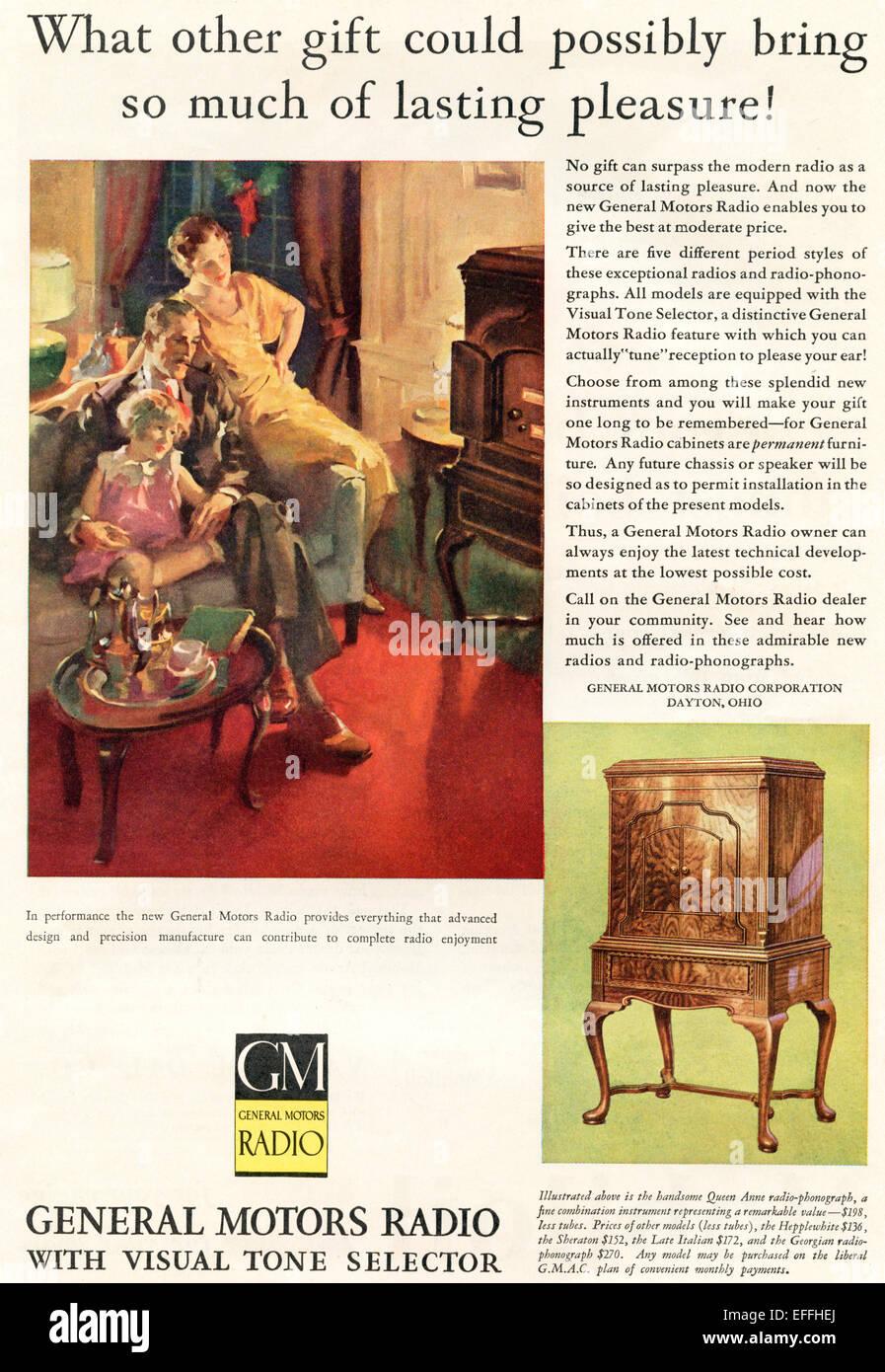 1930's American advertisement for General Motors Radios. - Stock Image