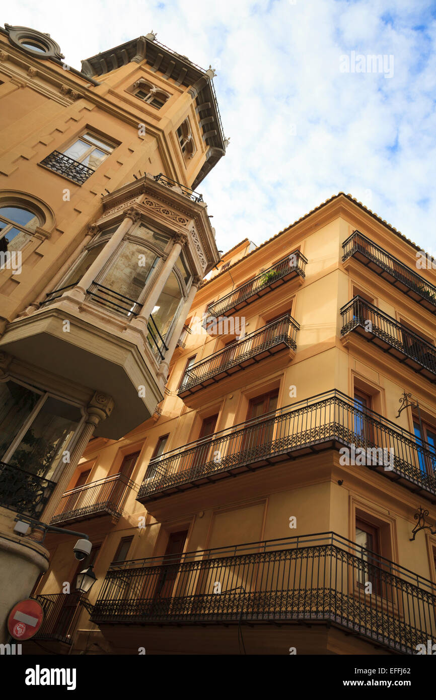 Classically designed Spanish building with balconies - Stock Image