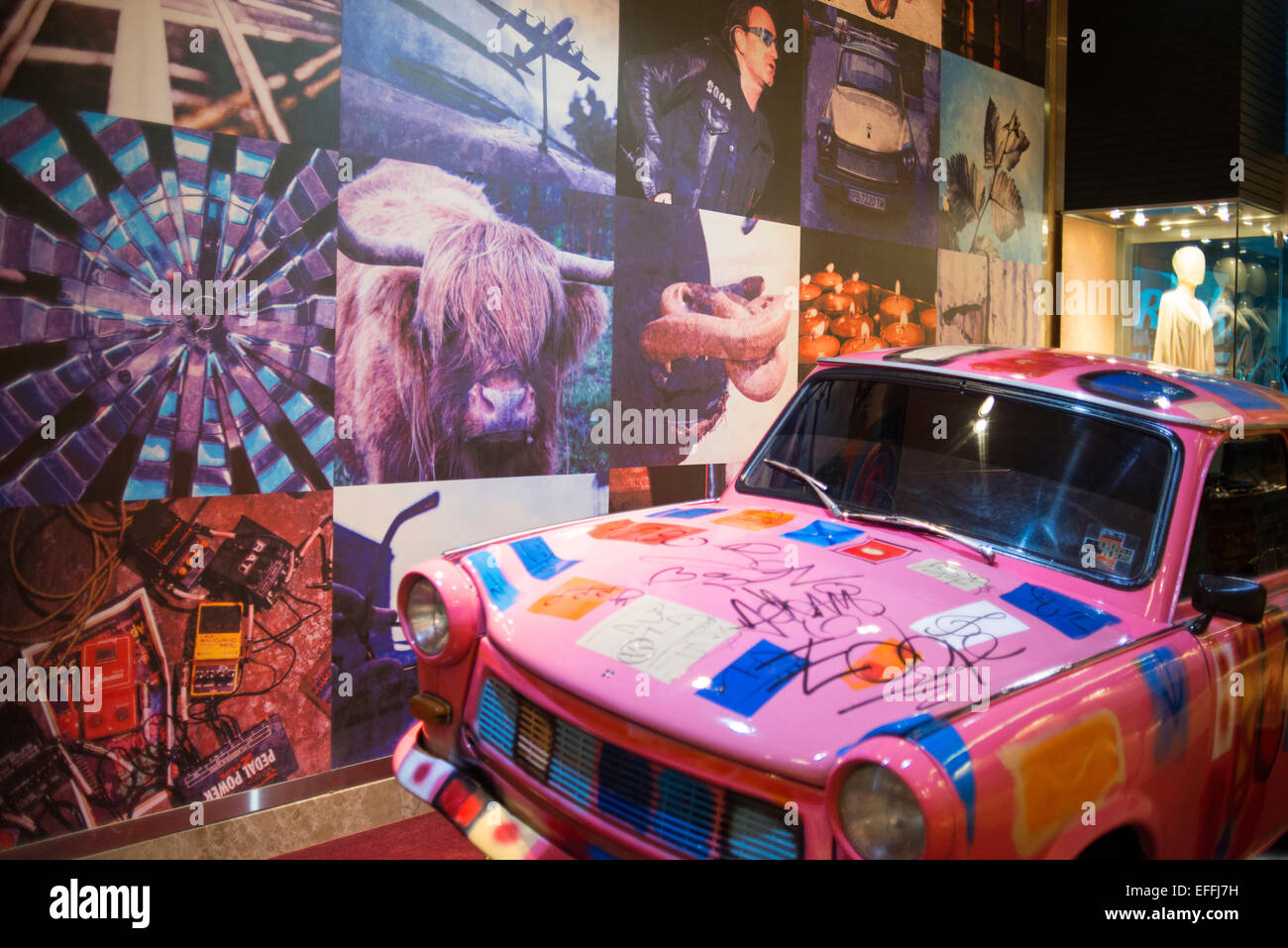 Pink car at lobby of HARD ROCK HOTEL PANAMA MEGAPOLIS. In the heart of Panama rises the new Hard Rock Hotel Panama - Stock Image