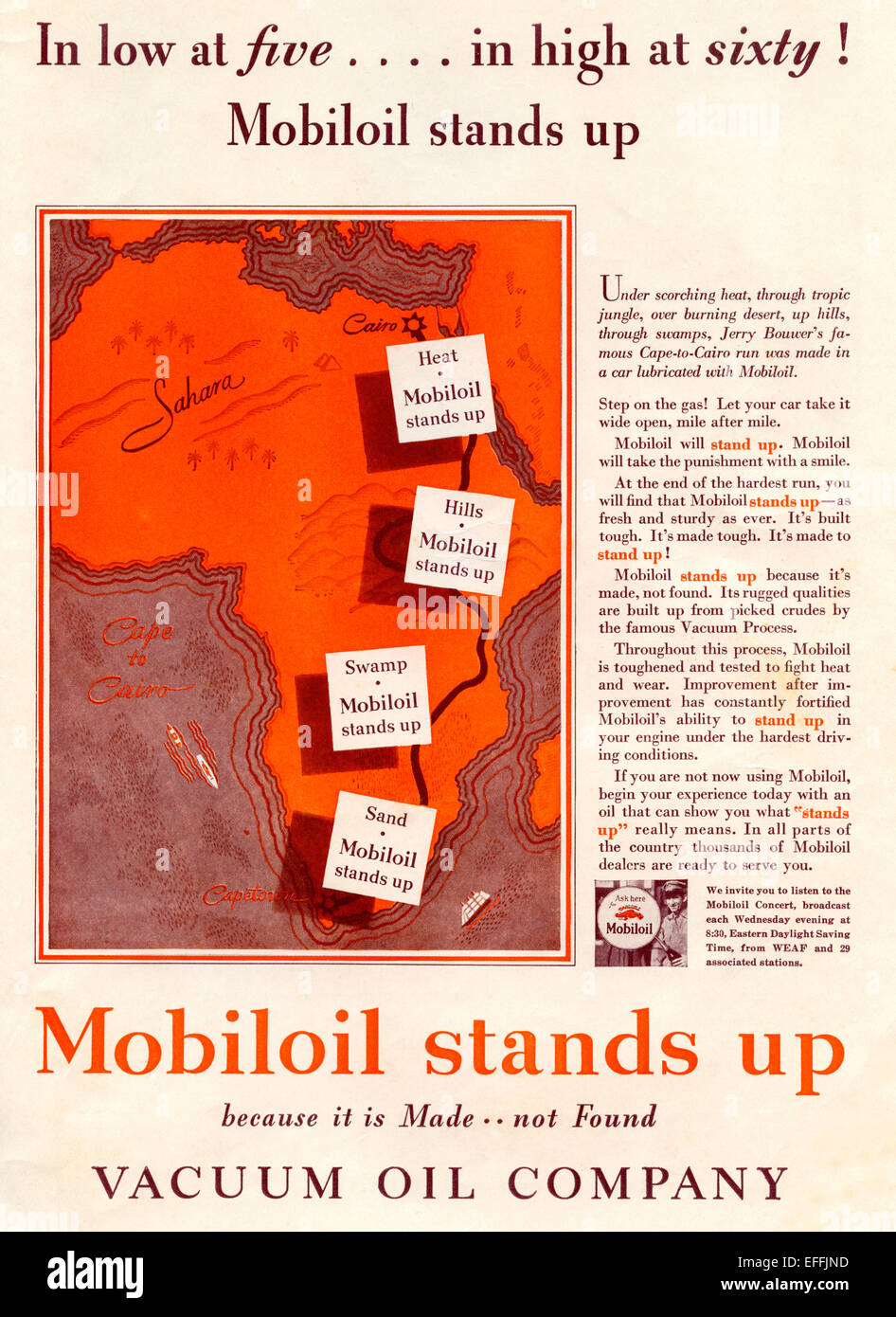 1930's American advertisement for the Mobiloil Vacuum Oil Company. - Stock Image