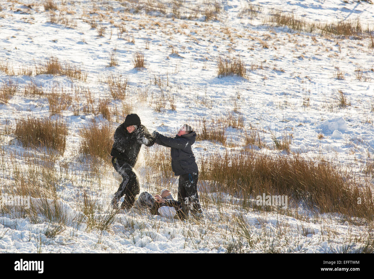 Children having a snow ball fight on Kirkstone Pass in snow, Lake District, UK - Stock Image