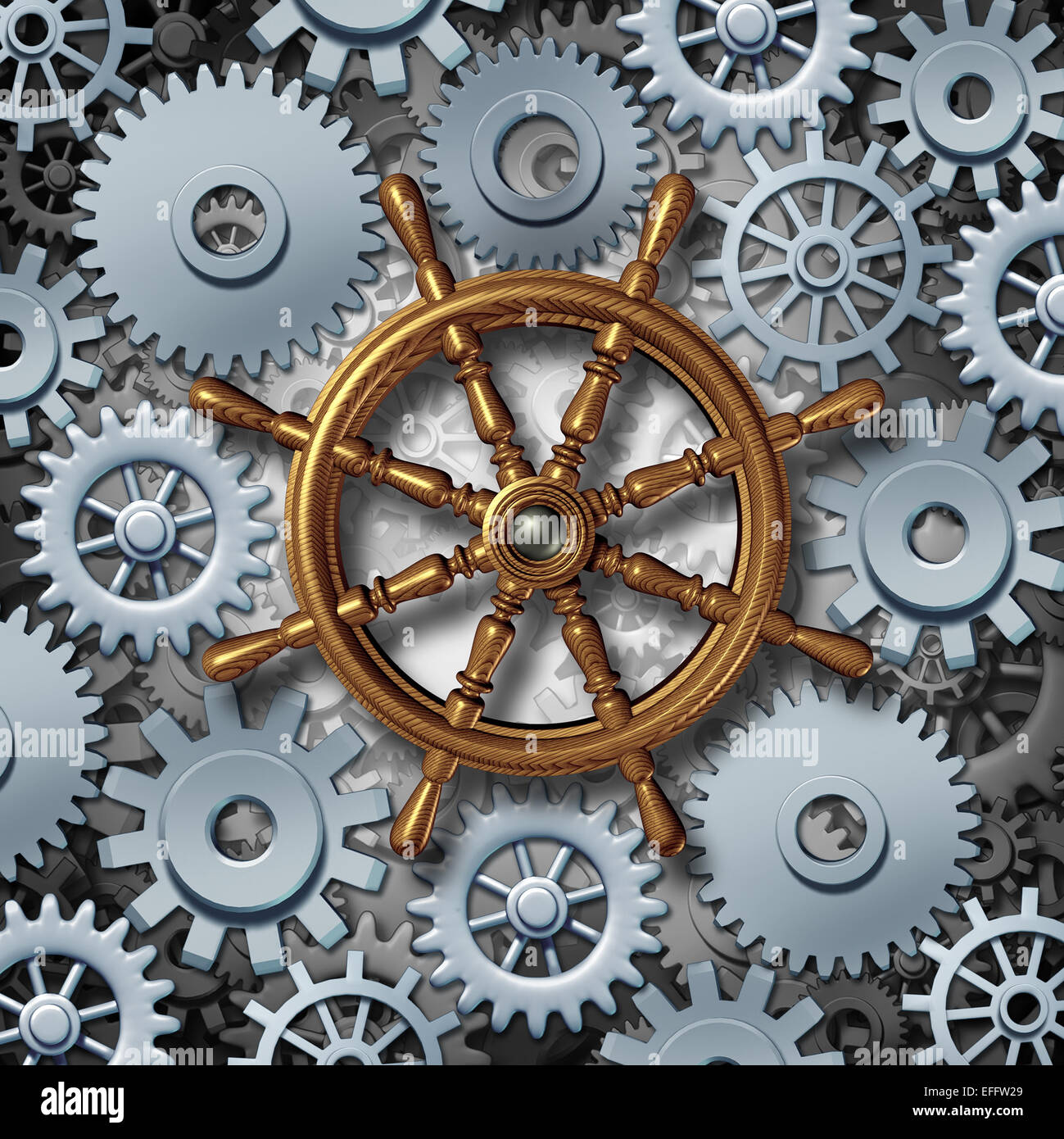 Business navigation concept as a marine boat steering wheel connected to gears and cog wheels as a metaphor for - Stock Image