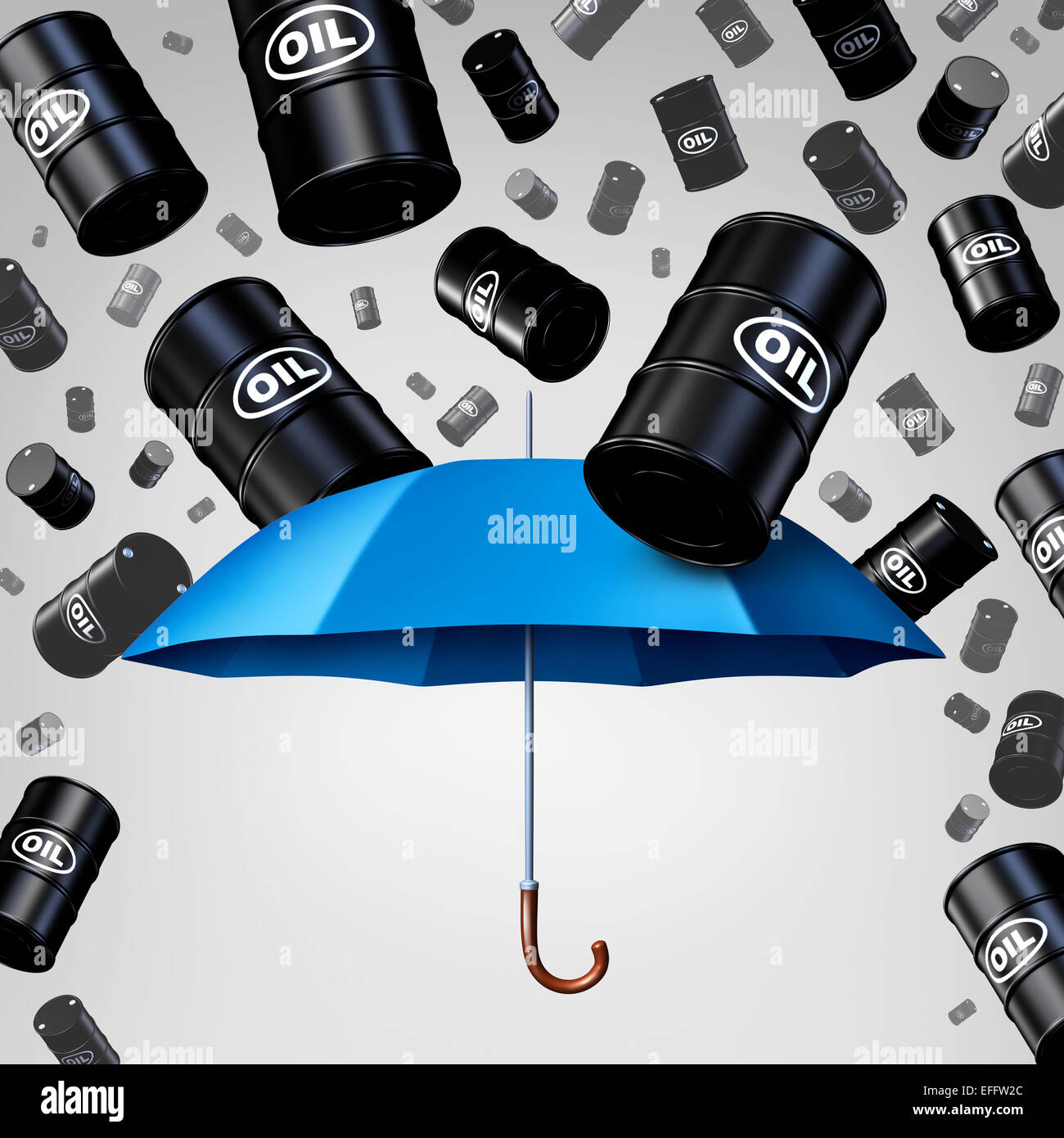 Falling oil protection concept as a group of crude petroleum barrels raining down with a blue umbrella as a security - Stock Image