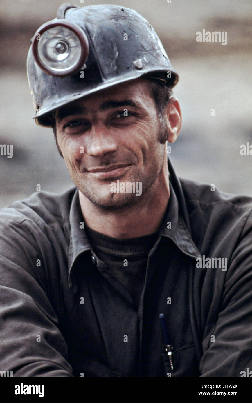 Portraits of a coal miner waiting to go to work on the 4 p.m. to midnight shift at the Virginia Pocahontas company - Stock Image