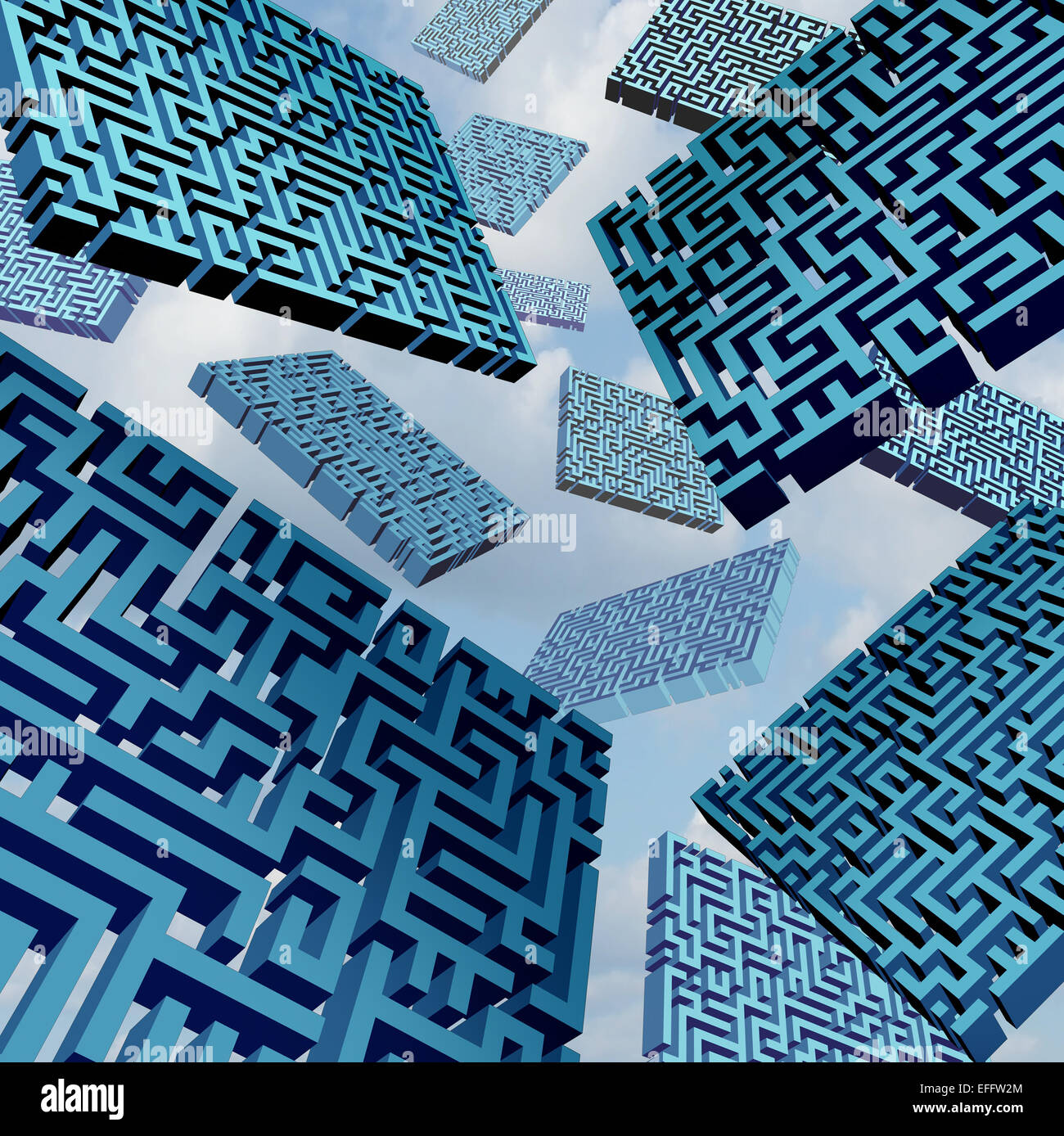 Maze confusion concept as a group of three dimensional labyrinth pieces floating in the sky as a metaphor for confused - Stock Image