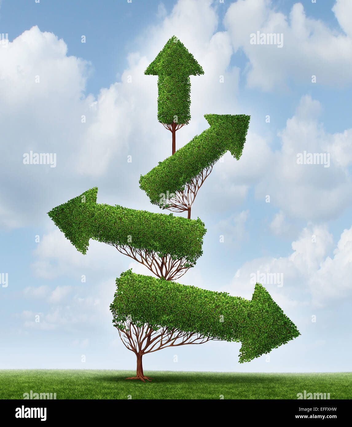 Recovery and success business concept as an arrow tree pointing downward gradually recovering with upward pointing - Stock Image