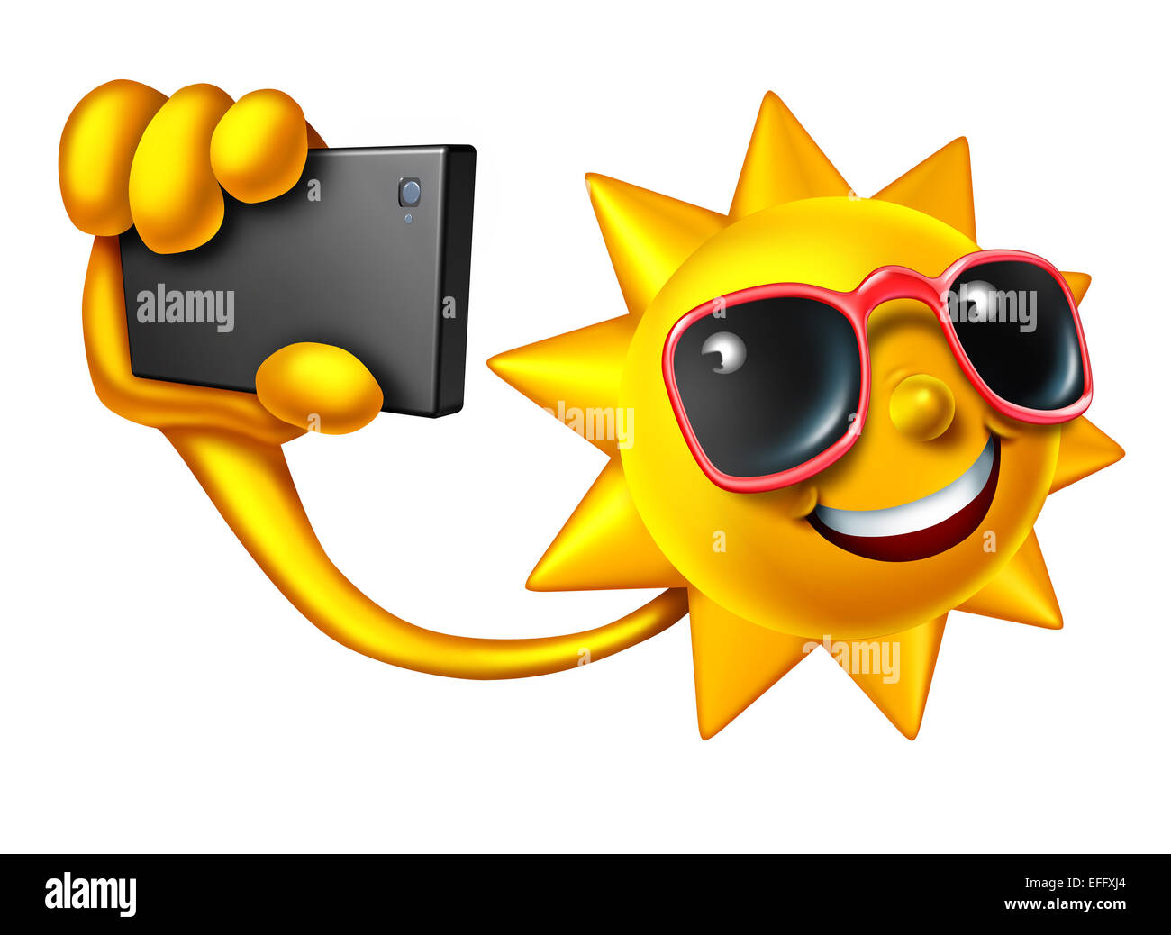 Summer selfie social media concept as a happy sun character holding a smartphone taking a portrait photo to update - Stock Image