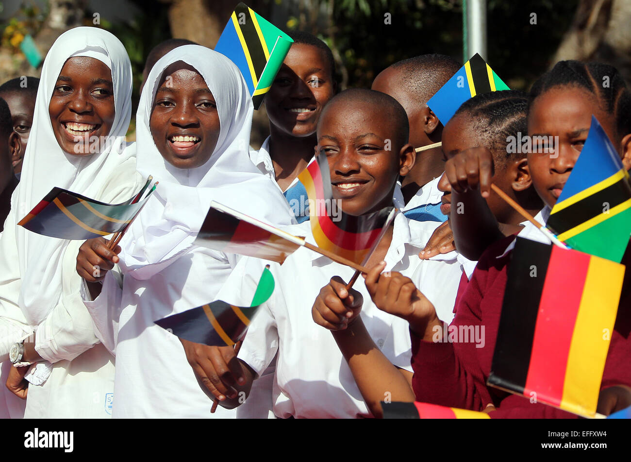 Young People Greet German President Gauck With Flags In Dar Es Stock