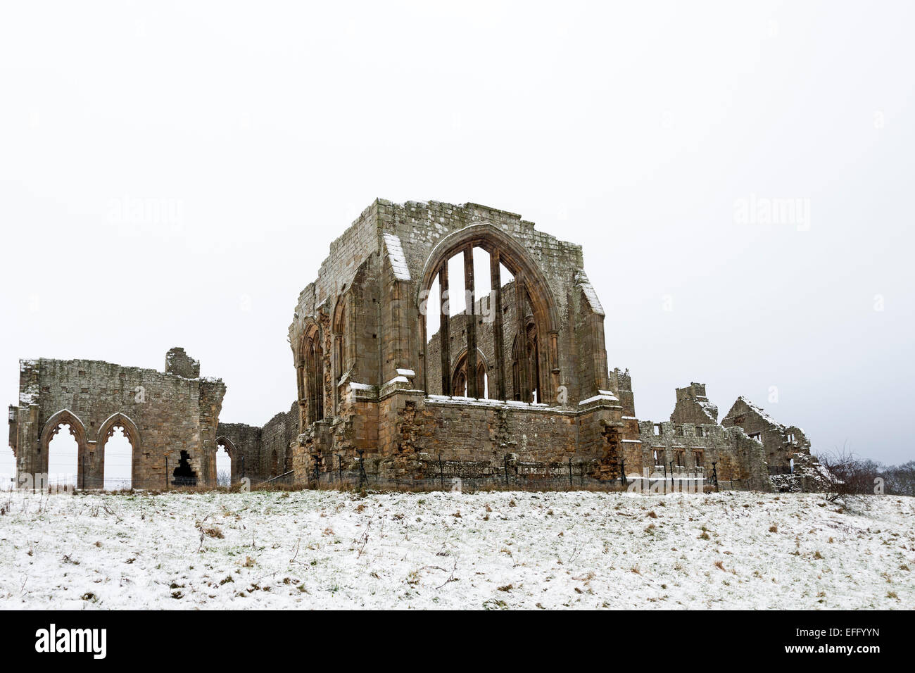The Remains of Egglestone Abbey Near Barnard Castle in Winter Teesdale County Durham UK Stock Photo