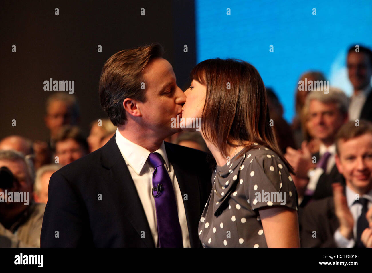 Conservative party conference at Manchester Central 2010. David Cameron keynote speech.  With wife Samantha after - Stock Image