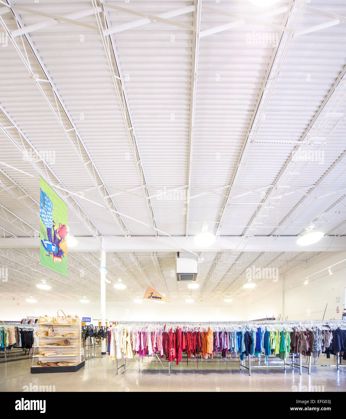 Ft Lauderdale Goodwill Industries Superstore interior. Thrift store, thrift shop, charity shop with color coded - Stock Image