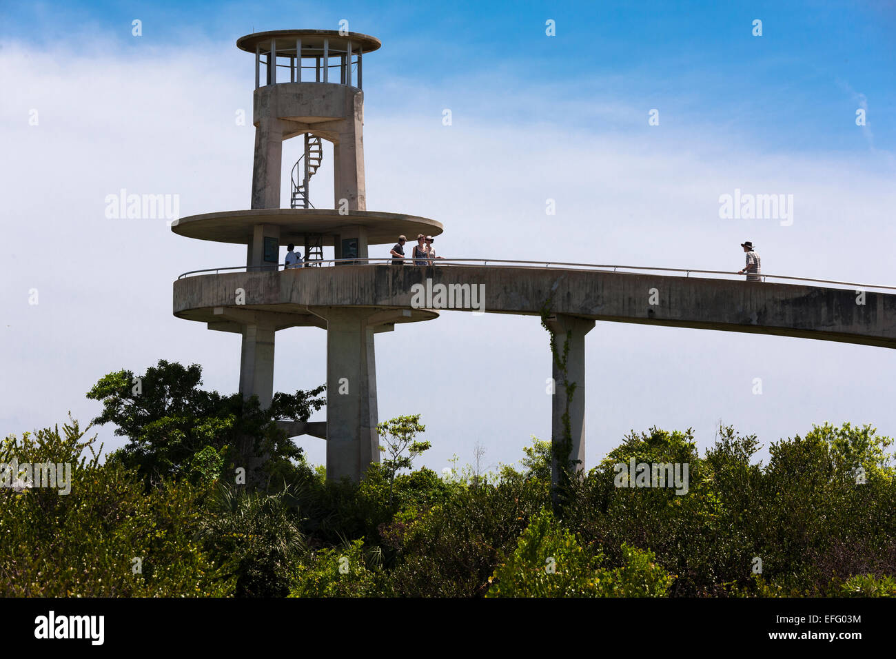 Shark Valley Everglades Visitors Observation Tower Everglades National Park Florida US - Stock Image