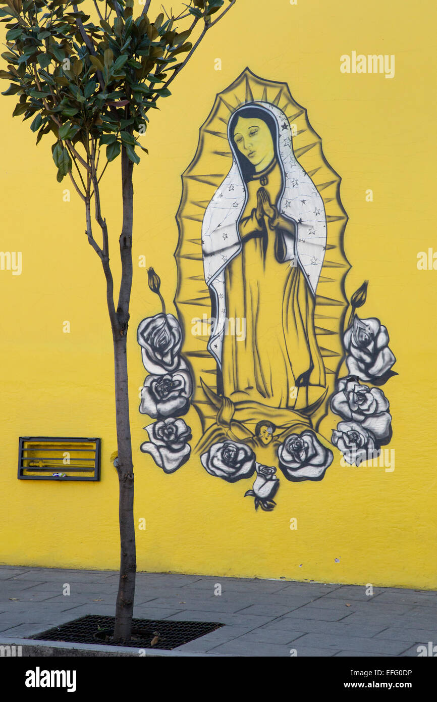 Oaxaca, Mexico - An image of the Virgin Mary painted on the wall of ...