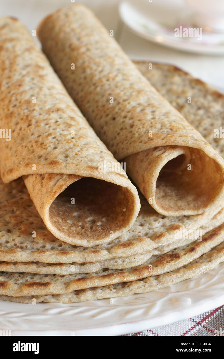 Staffordshire Oatcakes a savoury pancake made with oatmeal flour and yeast - Stock Image