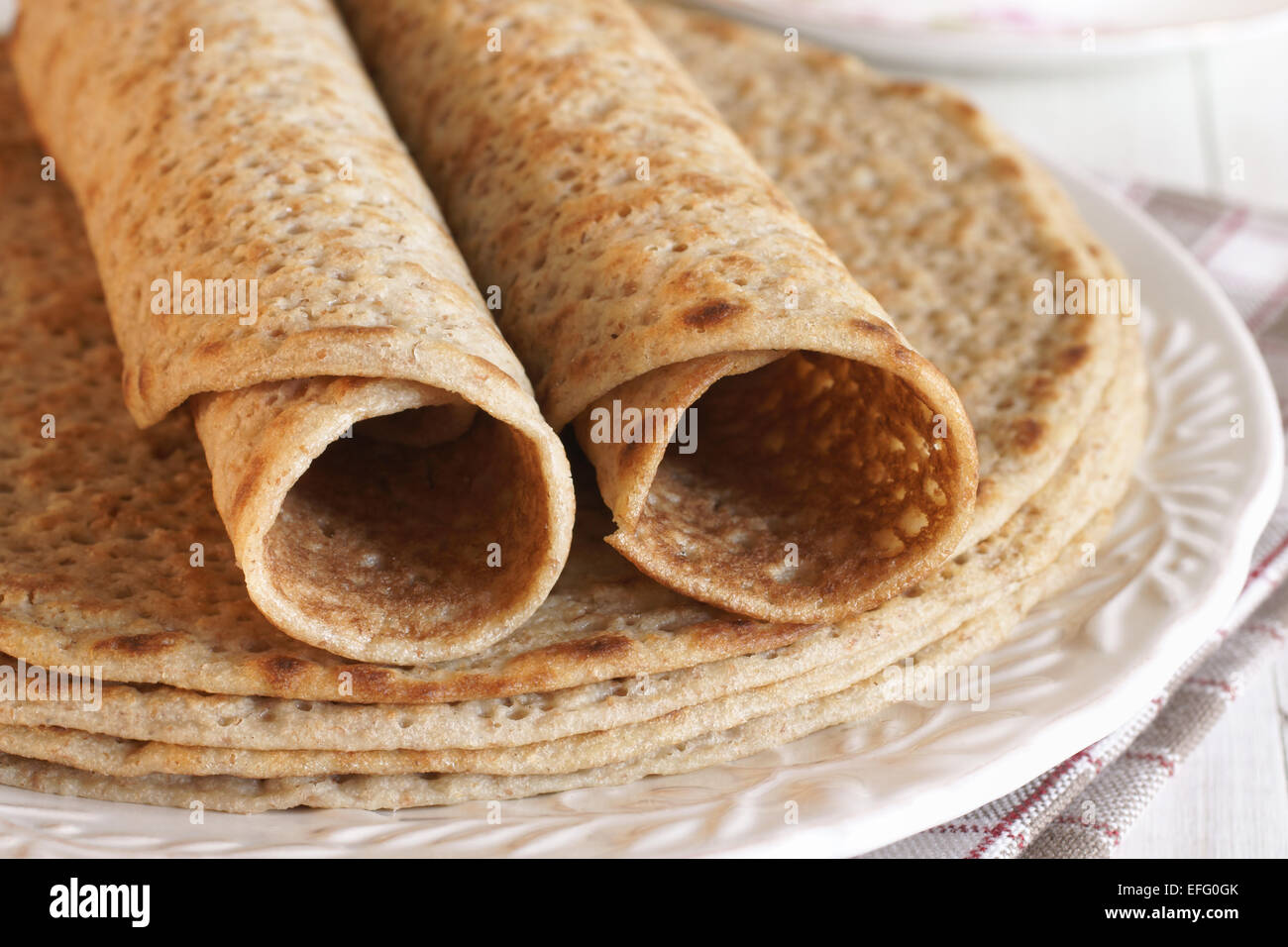 Staffordshire Oatcakes a savoury oatmeal pancake from the North Staffordshire area of England, specifically Stoke Stock Photo