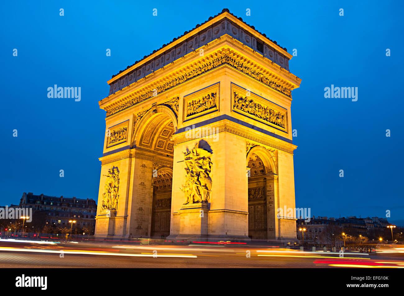 The Triumphal Arch (Arc de Triomphe) on Place Charles de Gaulle in Paris, France. - Stock Image