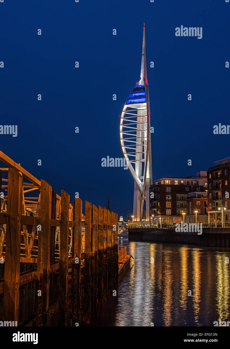 Spinnaker Tower at Night Stock Photo