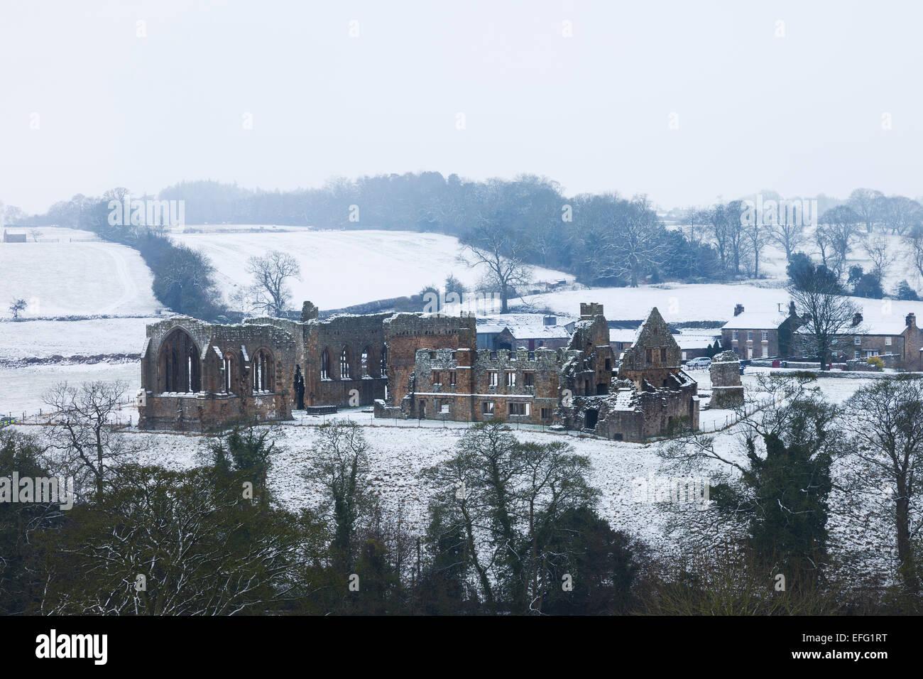 Egglestone Abbey Near Barnard Castle in Winter Teesdale County Durham UK - Stock Image