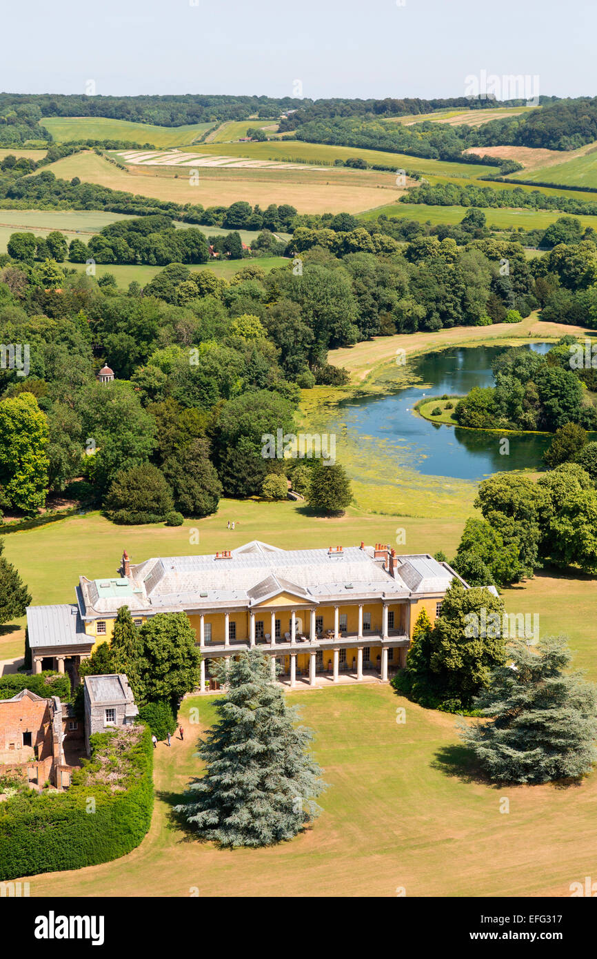 Aerial view of West Wycombe Park and stately home in rural landscape, Buckinghamshire, England - Stock Image