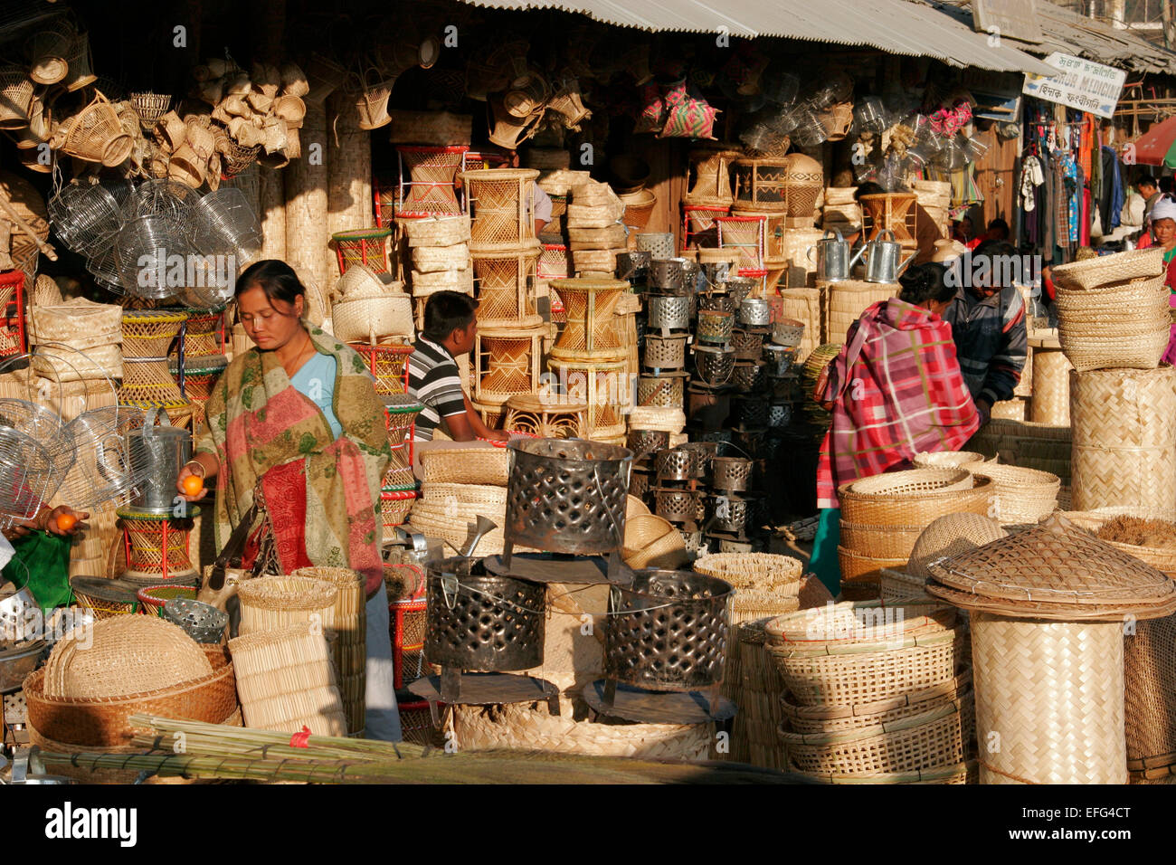 Outdoor market in Imphal, Manipur, India - Stock Image