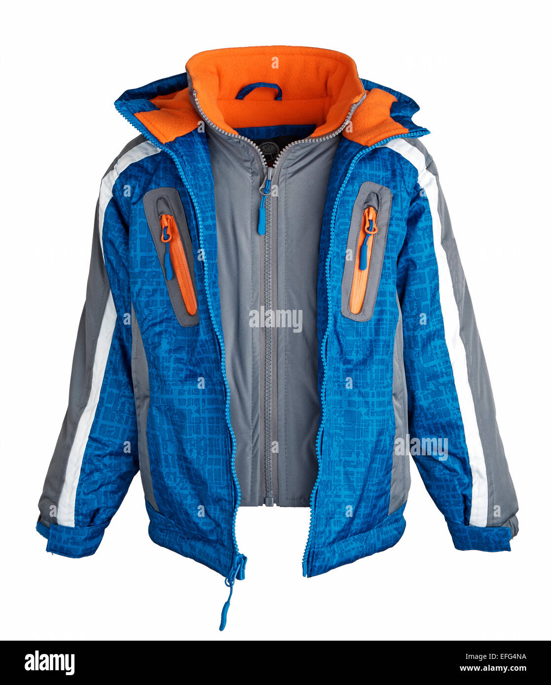 Blue winter jacket - Stock Image