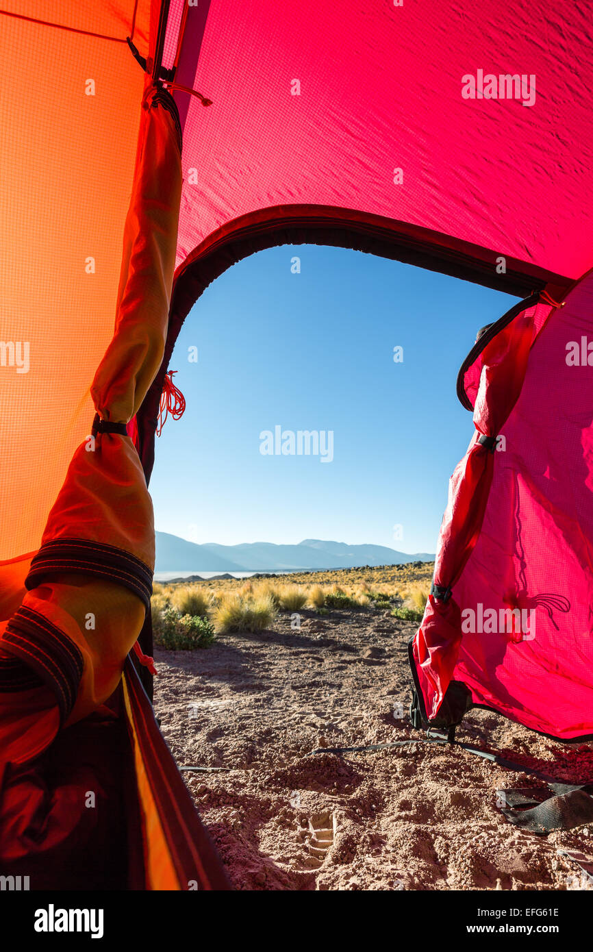 A tent view at Salar de Talar, San Pedro de Atacama, Chile, South America - Stock Image